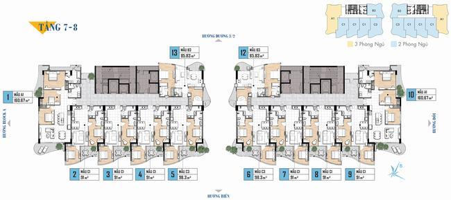 Mặt bằng tầng 7/8 dự án Aria Vũng Tàu