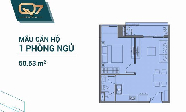 Mặt bằng căn hộ 01 phòng ngủ 50.53m2Q7 Boulevard
