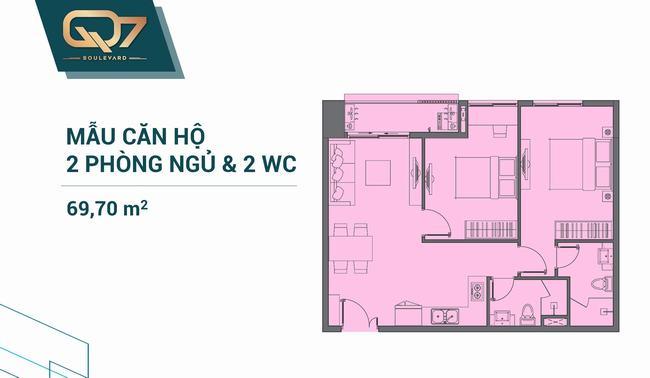 Mặt bằng căn hộ 02 phòng ngủ 69.70m2 Q7 Boulevard