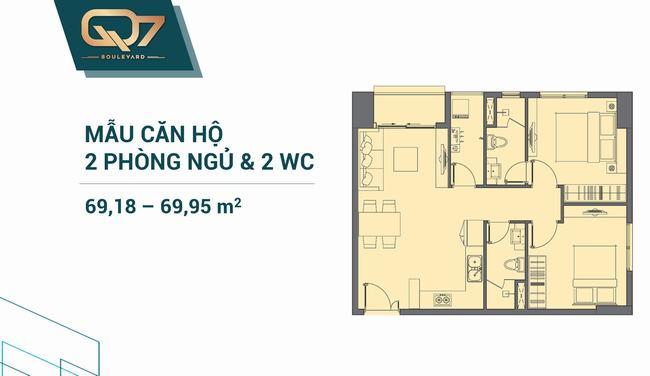 Mặt bằng căn hộ 02 phòng ngủ 69.18m2 và 69.95m2 Q7 Boulevard
