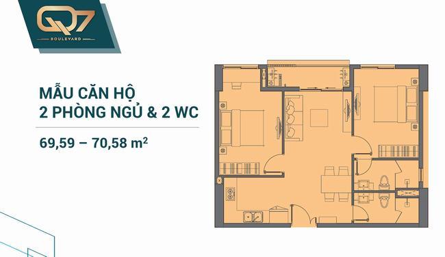 Mặt bằng căn hộ 02 phòng ngủ 69.59m2 và 70.58m2 Q7 Boulevard