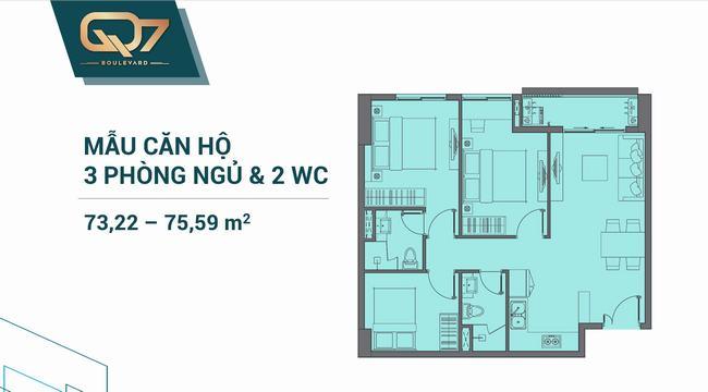 Mặt bằng căn hộ 03 phòng ngủ 73.22m2 và 75.59m2 Q7 Boulevard