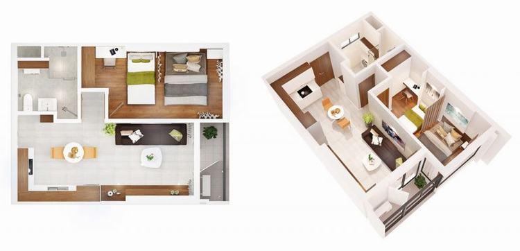 Mặt bằng căn hộ 01 phòng ngủ dự án Q7 Boulevard quận 7