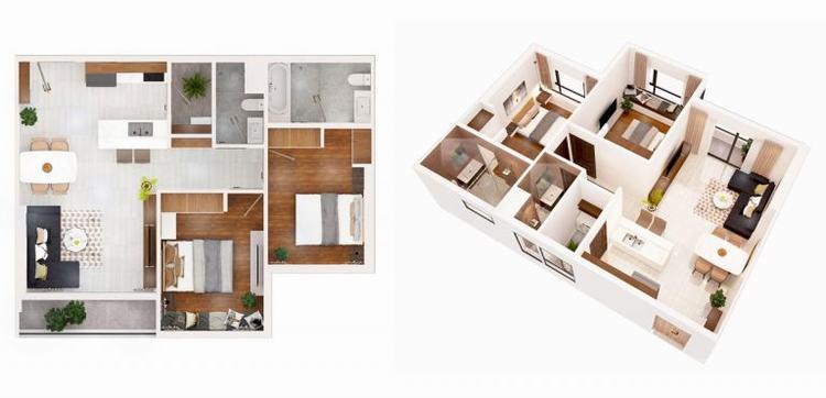 Mặt bằng căn hộ 02 phòng ngủ dự án Q7 Boulevard quận 7