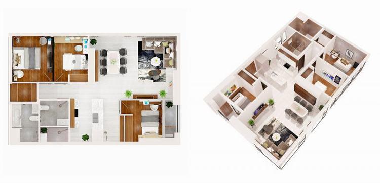 Mặt bằng căn hộ 03 phòng ngủ dự án Q7 Boulevard quận 7