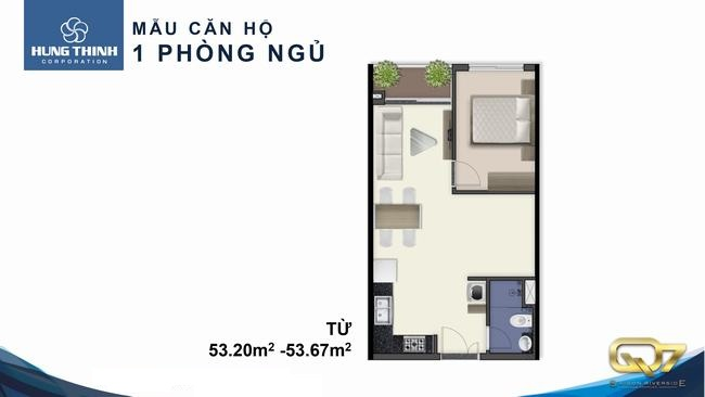 Thiết kế dự án căn hộ chung cư Q7 Boulevard Quận 7 Đường Nguyễn Lương Bằng chủ đầu tư Hưng Thịnh loại 1 phòng ngủ
