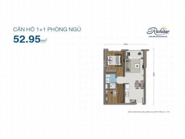 thiết kế căn hộ 1PN dự án Richstar Tân Phú