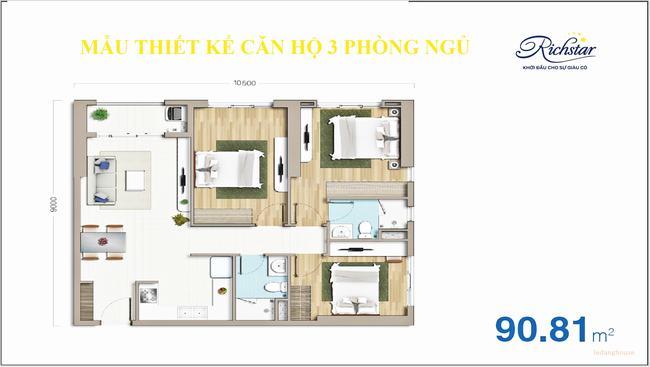 thiết kế căn hộ 3PN Richstar Tân Phú