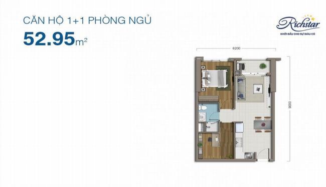 thiết kế căn hộ 1+1PN dự án richstar