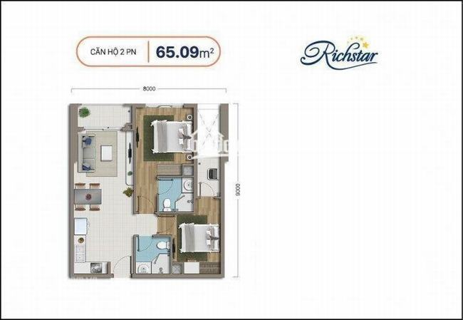 thiết kế căn hộ 65m2 dự án Richstar