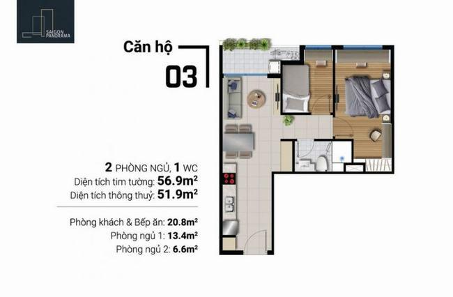 Mặt bằng căn hộ 2 phòng ngủ 1 toilet - River Panorama