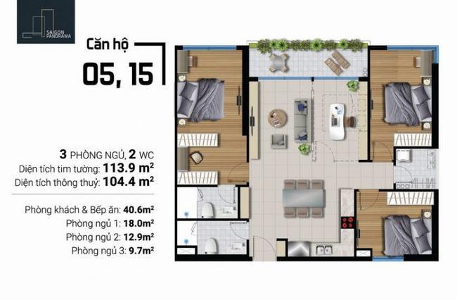 Mặt bằng căn hộ 3 phòng ngủ 2 toilet - River Panorama
