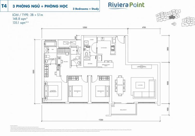 Căn 2 phòng ngủ 3B+S1M 149m2 Riviera Point