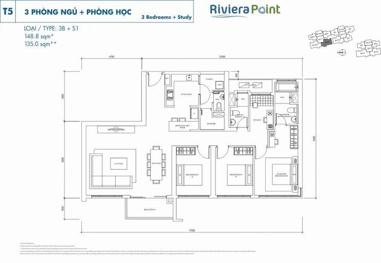 Căn 3 phòng ngủ 3B+S1 149m2 Riviera Point