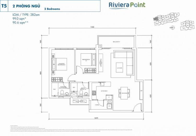 Căn 2 phòng ngủ 2B2AM 99m2 Riviera Point