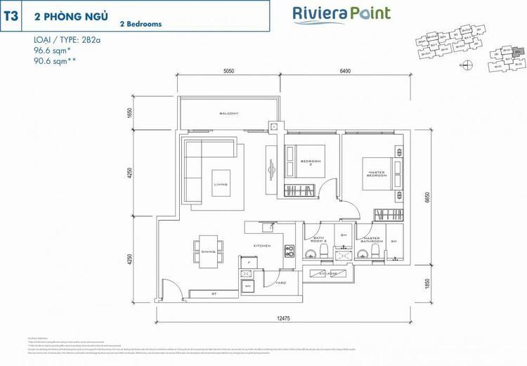 Căn 2 phòng ngủ 2B2A 97m2 Riviera Point