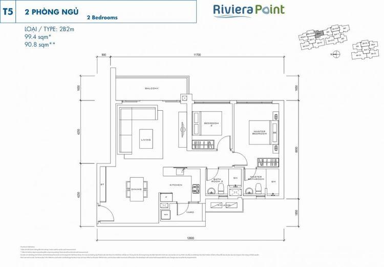 Căn 2 phòng ngủ 2B2M99m2 Riviera Point