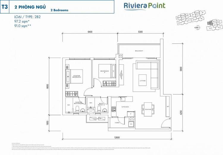 Căn 2 phòng ngủ 2B297m2 Riviera Point