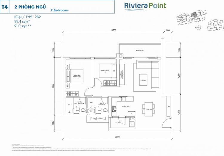 Căn 2 phòng ngủ 2B2 99m2 Riviera Point
