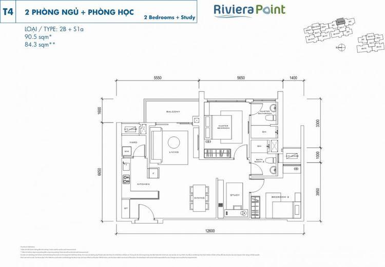 Căn 2 phòng ngủ 2B+S1A 91m2 Riviera Point