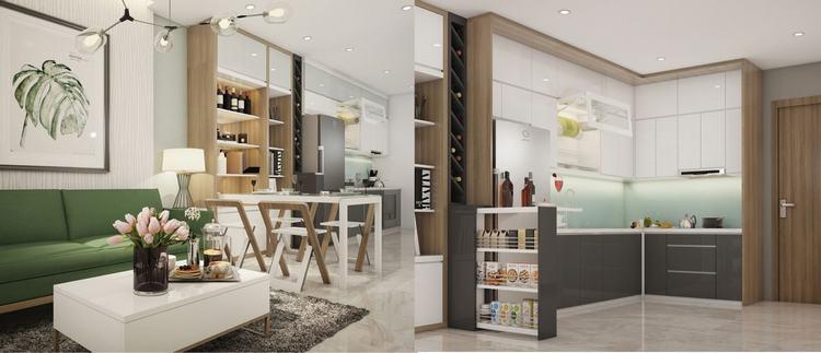 Thiết kế phòng khách và phòng bếp nhà mẫu - Saigon Intela