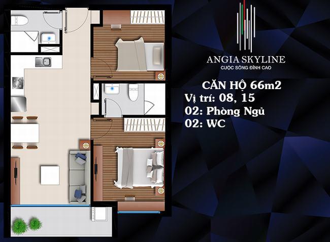 Mặt bằng căn hộ 2 PN 2 WC 66m2 - Skyline Quận 7