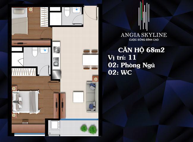 Mặt bằng căn hộ 2 PN 2 WC 68m2 - Skyline Quận 7