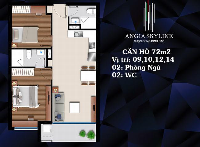 Mặt bằng căn hộ 2 PN 2 WC 72m2 - Skyline Quận 7
