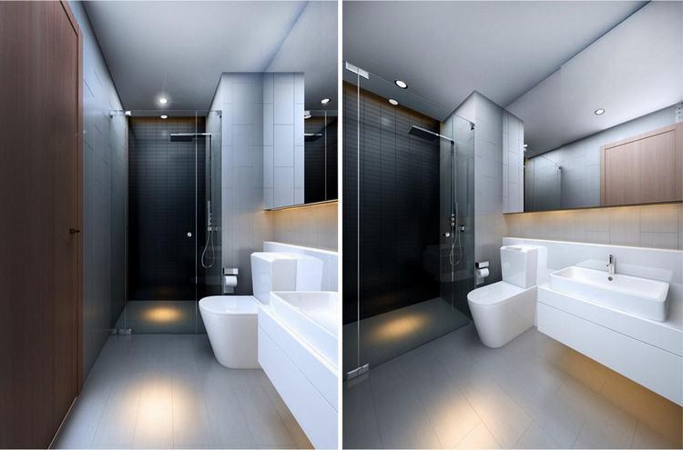 Phòng tắm đứng, bồn tắm sử dụng thiết bị cao cấp căn hộ The Sun Avenue