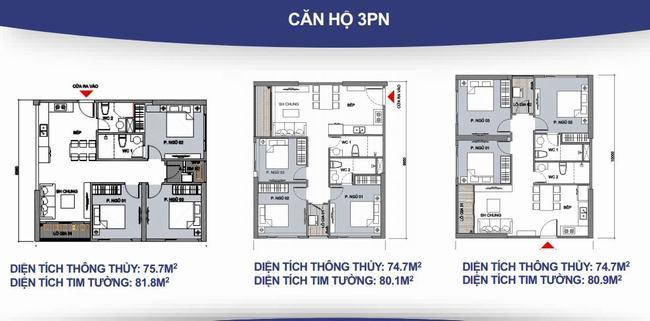 Mặt bằng căn hộ 3 phòng ngủ + 2WC