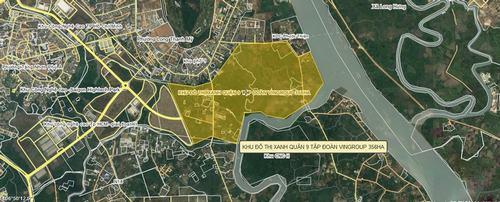 Sơ đồ vị trí dự án khu đô thị xanh Vingroup Quận 9 và có tên thương mại là Khu đô thị Vincity Grand Park Quận 9