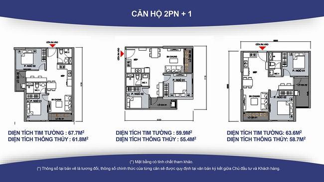 Loại hình căn hộ 2PN+1 đa năng với 1 phòng tắm tại Vinhomes Grand Park