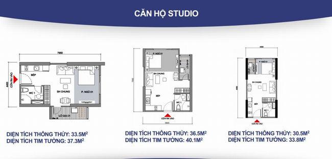 Mặt bằng căn hộ 1 phòng ngủ studio