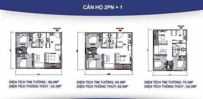 Mặt bằng căn hộ 2 phòng ngủ + 2WC