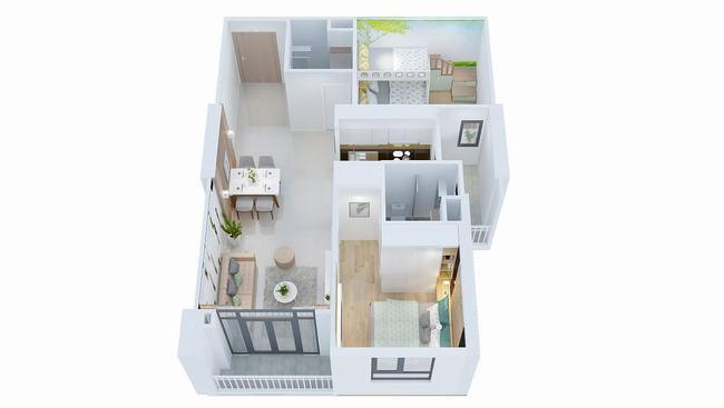 Layout thiết kế căn hộ 2 phòng ngủ 64.3m2 - West Intela