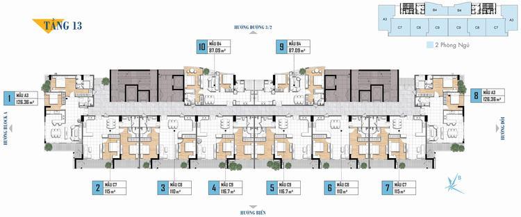 Mặt bằng tầng 13 căn hộ Aria Vũng Tàu