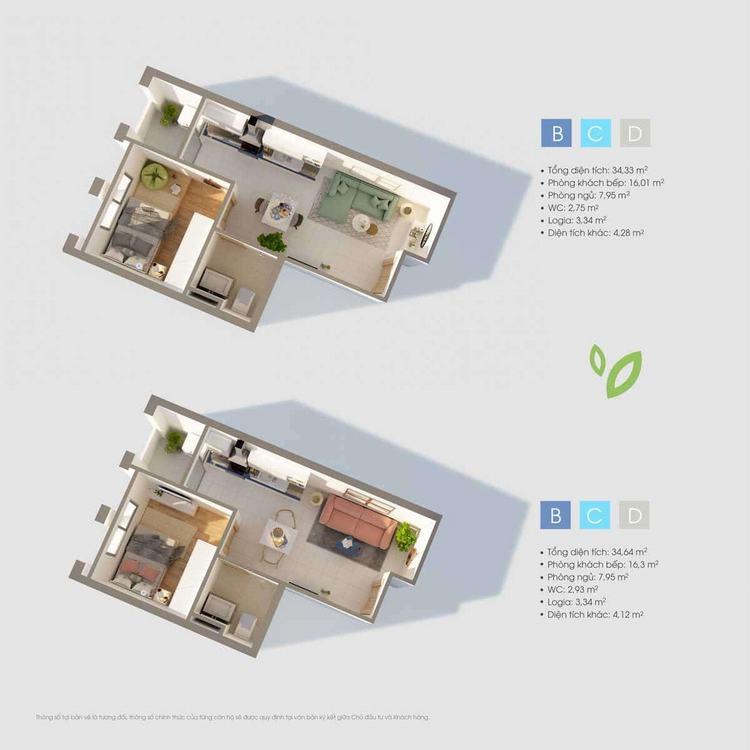 Layout thiết kế căn hộ Studio dự án D-One Gò Vấp