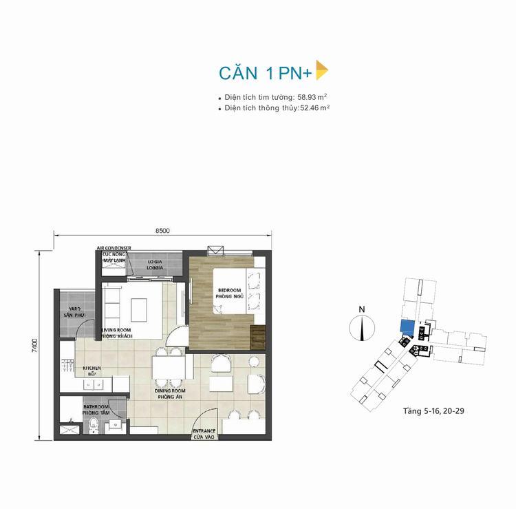 Mặt bằng thiết kế căn hộ 1+1PN dự án D-Homme Quận 6