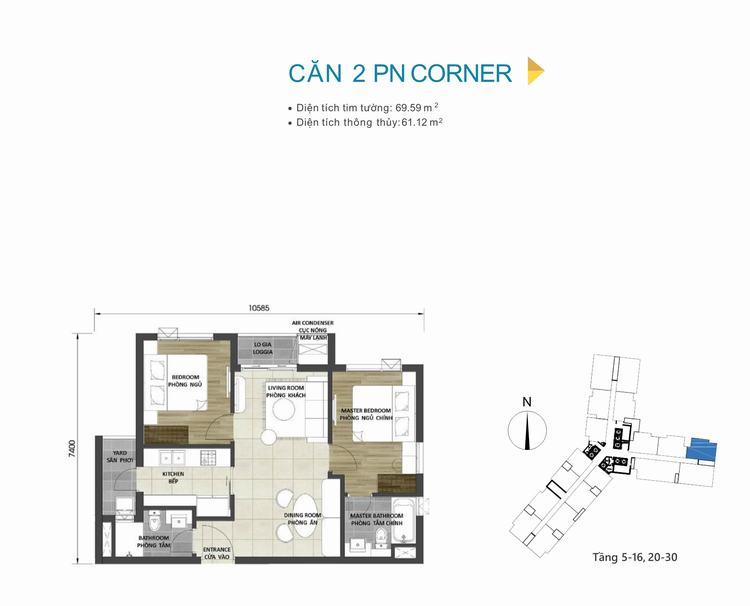 Mặt bằng thiết kế căn hộ 2PN Góc dự án D-Homme Quận 6