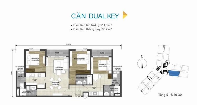 Mặt bằng thiết kế căn hộ Dual Key dự án D-Homme Quận 6