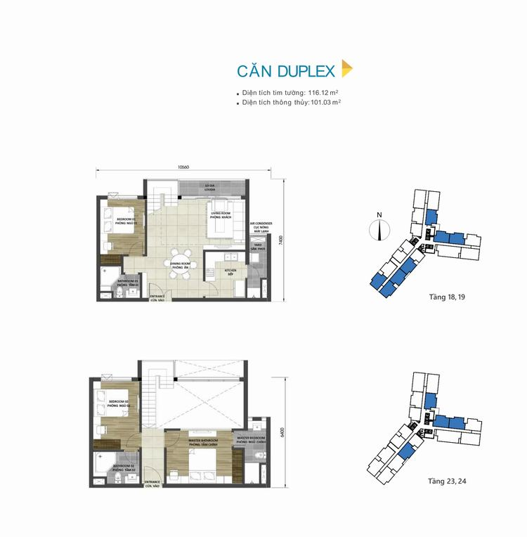 Mặt bằng thiết kế căn hộ Duplex dự án D-Homme Quận 6
