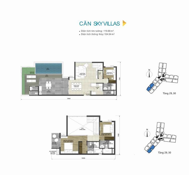 Mặt bằng thiết kế căn hộ Sky Villas dự án D-Homme Quận 6