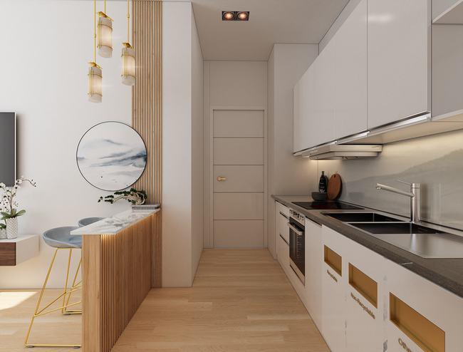 Phối cảnh phòng bếp căn hộ Duplex D-Homme Quận 6