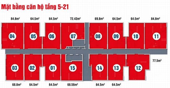 Mặt bằng Block A tầng 5 - 21 dự án High Intela