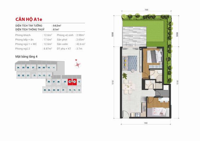Mặt bằng căn hộ sân vườn 2 phòng ngủ - 64,5m2 - High Intela