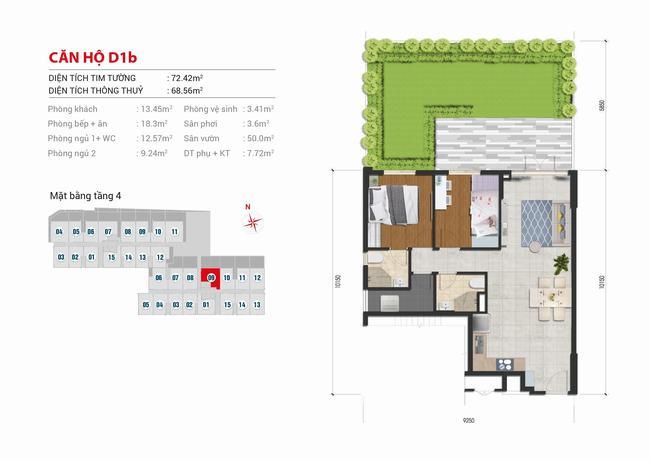 Mặt bằng căn hộ sân vườn 2 phòng ngủ - 72,42m2 - High Intela