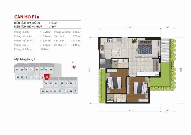 Mặt bằng căn hộ sân vườn 2 phòng ngủ - 77,5m2 - High Intela