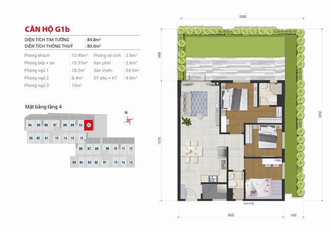 Mặt bằng căn hộ sân vườn 3 phòng ngủ - 84,8m2 - High Intela