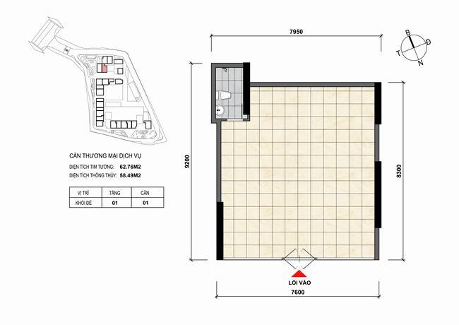 Mặt bằng thiết kế căn hộ Shophouse - TMDV 01 Opal Skyline Bình Dương