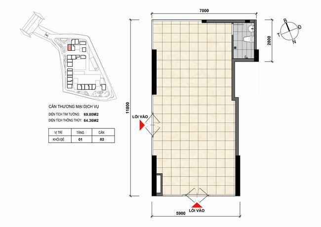 Mặt bằng thiết kế căn hộ Shophouse - TMDV 02 Opal Skyline Bình Dương
